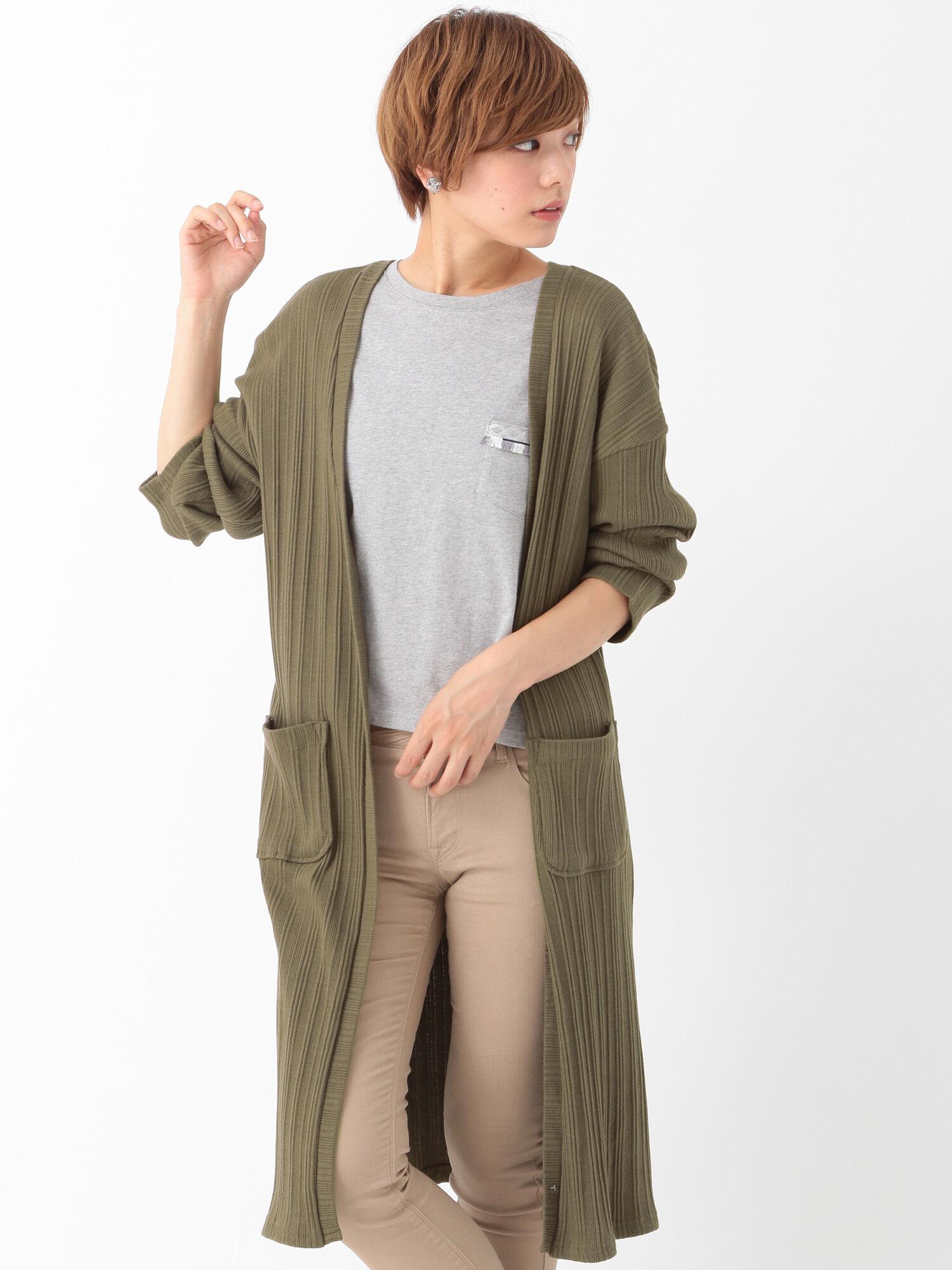 【SETITEM】刺繍ポケット付Tシャツカーディガンセット