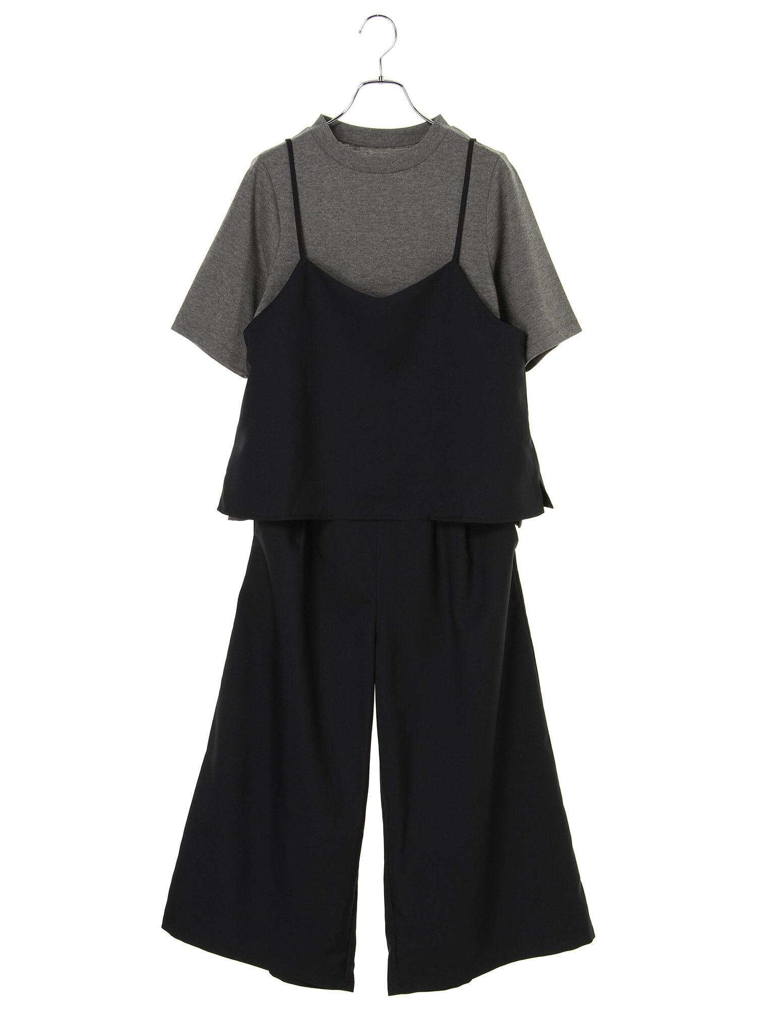 <もっと大きなサイズ>Tシャツ+キャミ&ガウチョ3点セット