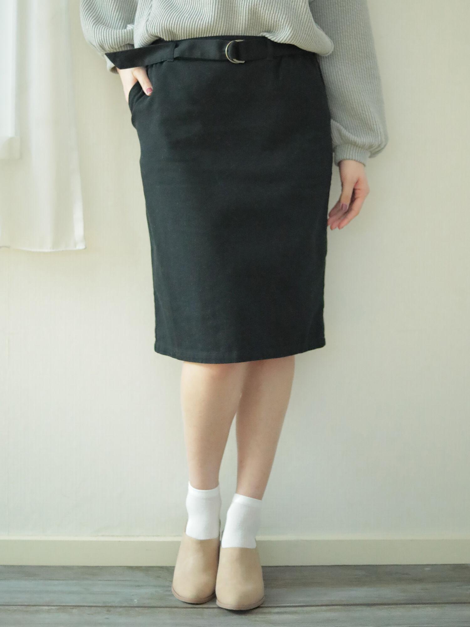 ★<WEB限定大きな・小さなサイズ>ベルト付きスカート
