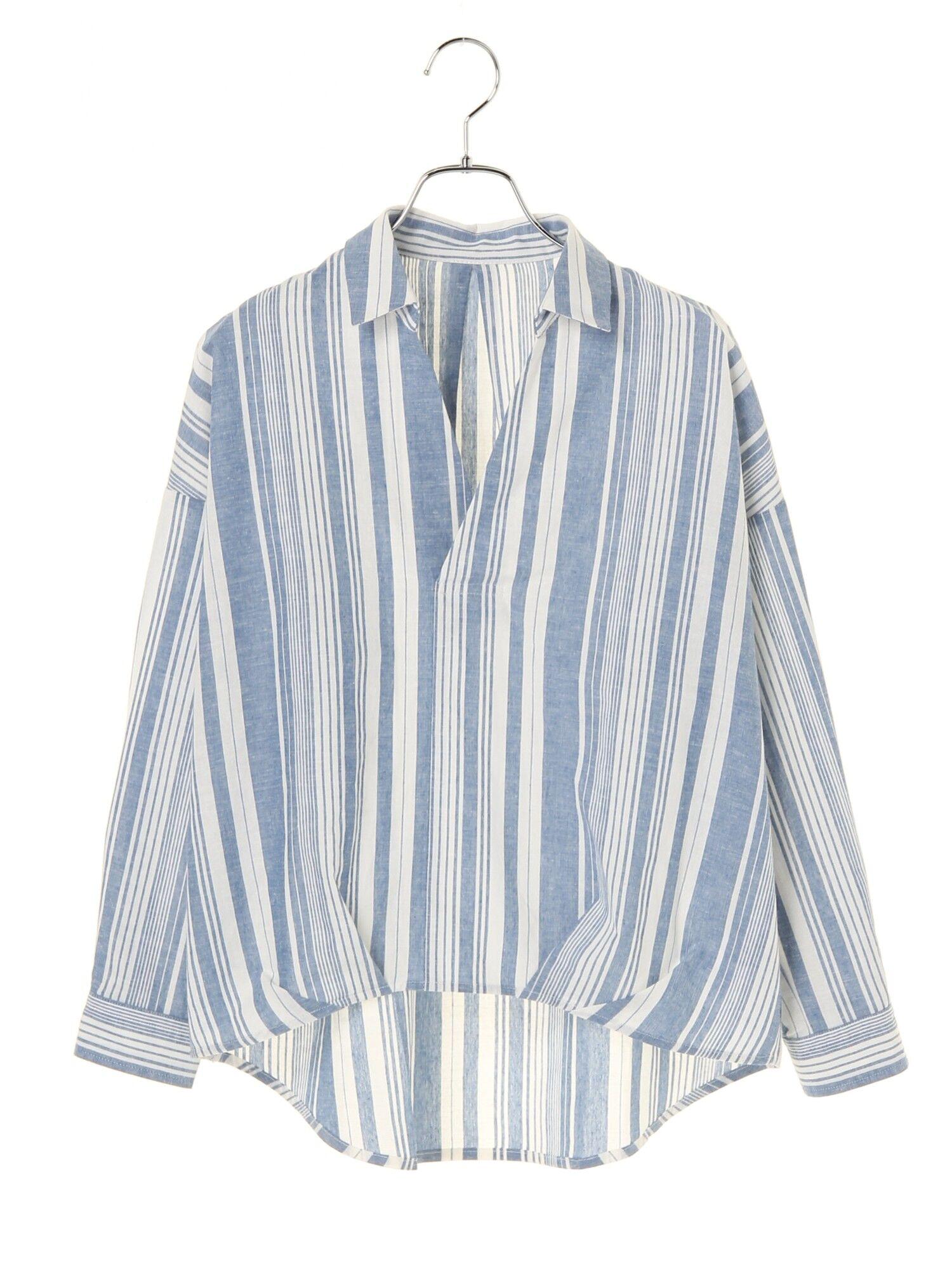 ★<WEB限定大きな・小さなサイズ>先染めストライプスキッパーシャツ