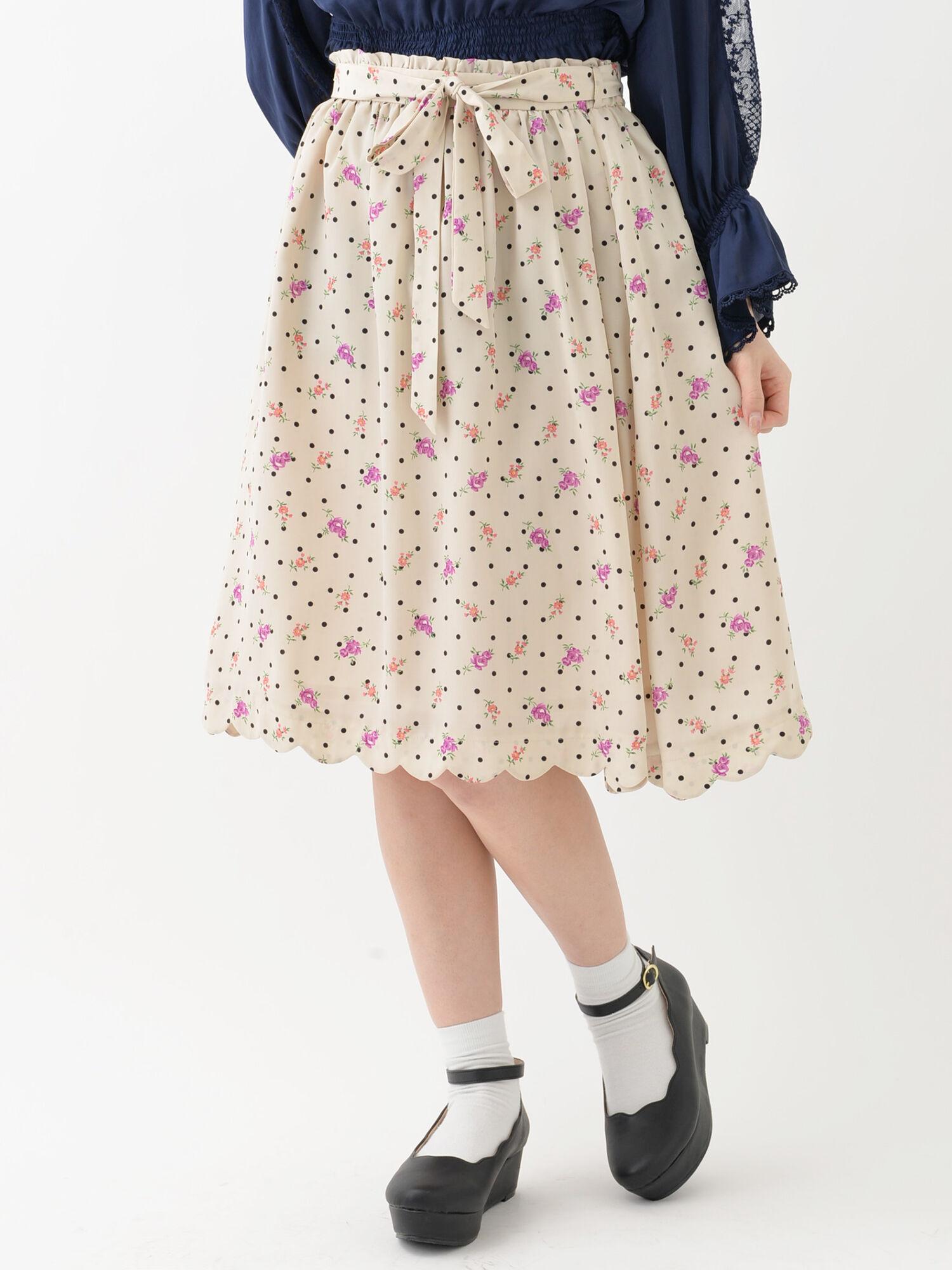 ★【Rune】フラワープリントスカート