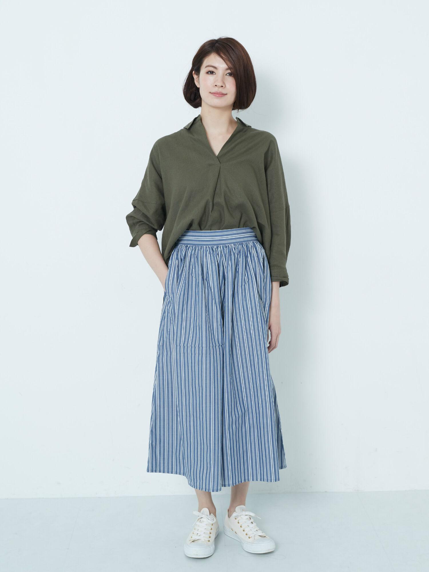 【CM着用】SET2点 スキッパーシャツ+スカーチョ