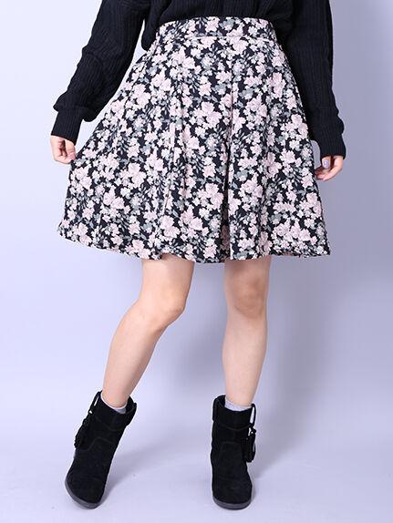 ・PEツイル花柄タックキュロットパンツ