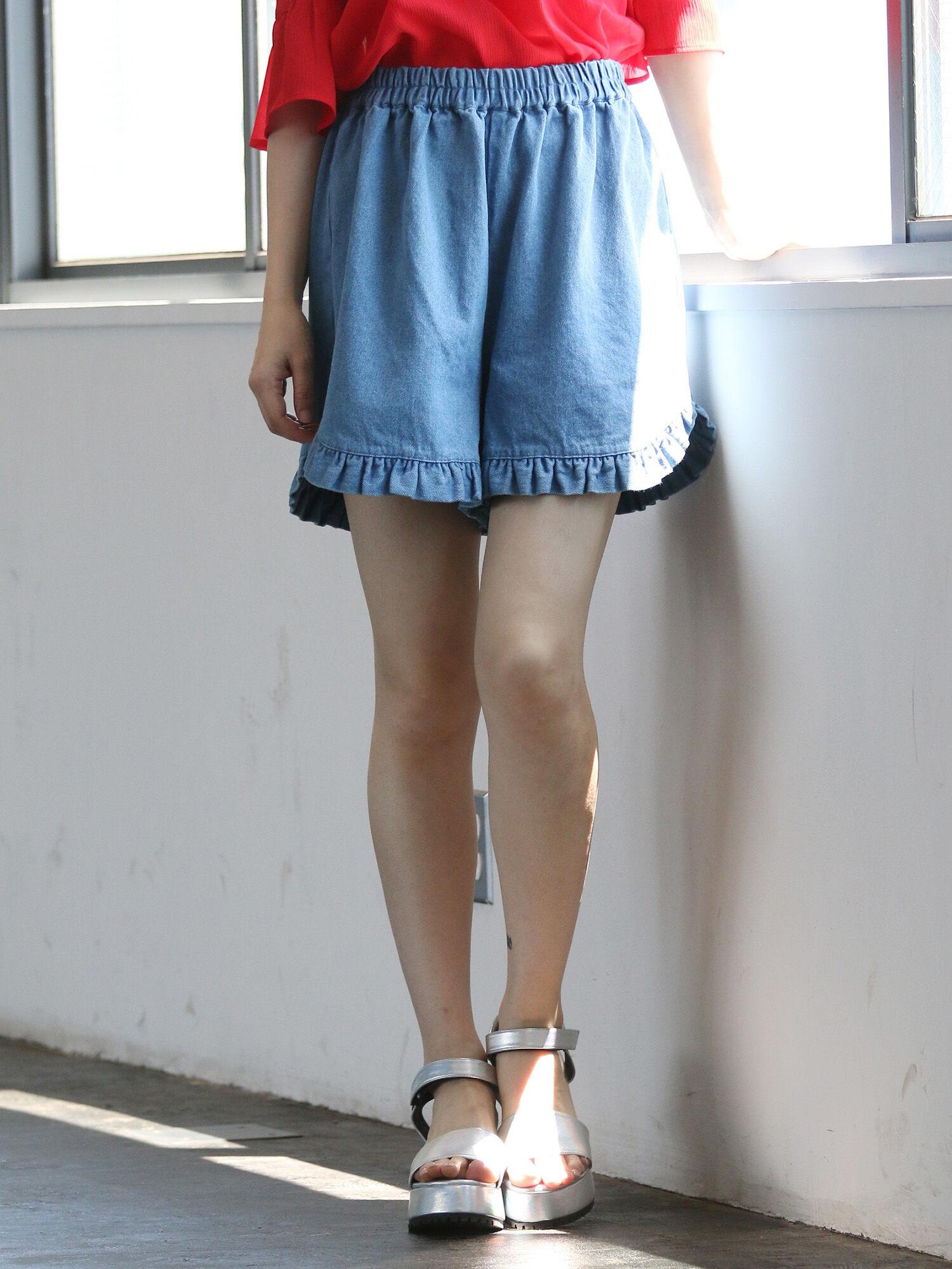 【先行予約】フリルデニムショートパンツ