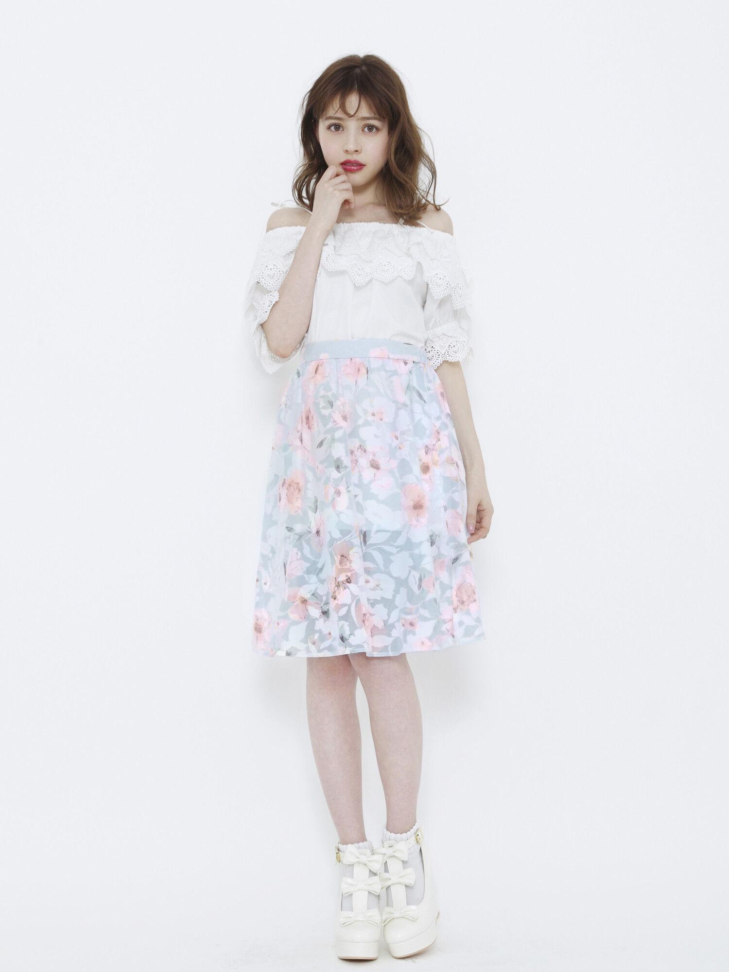 #eh Nana シアーフラワースカート