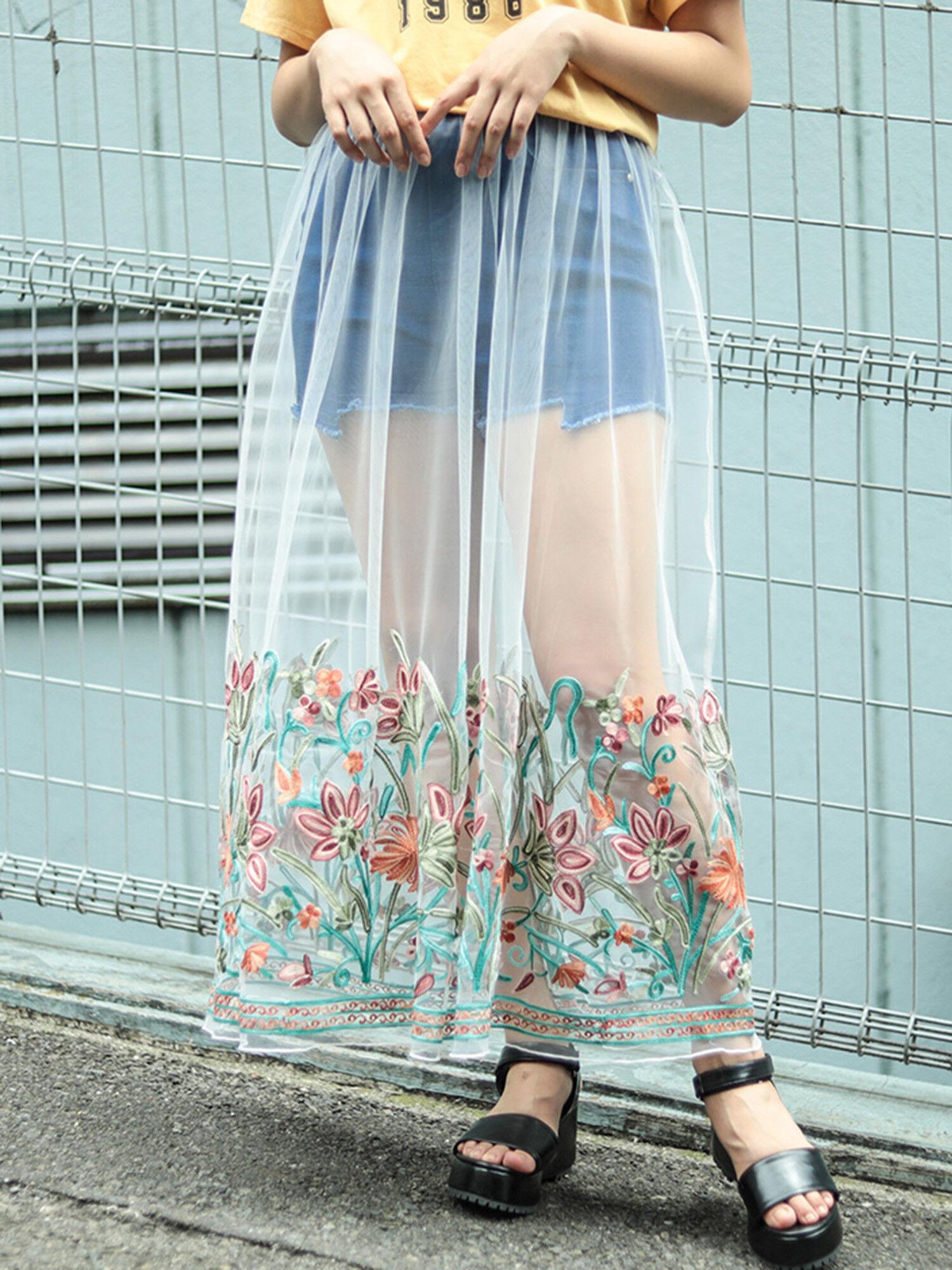 ・オリエンタル刺繍シアーロングスカート
