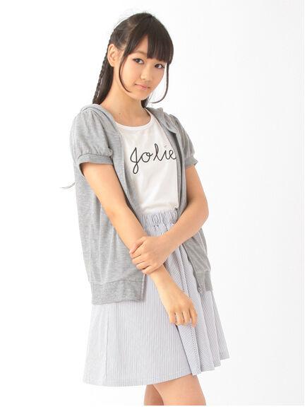 パーカー・Tシャツ・ストライプスカートセット