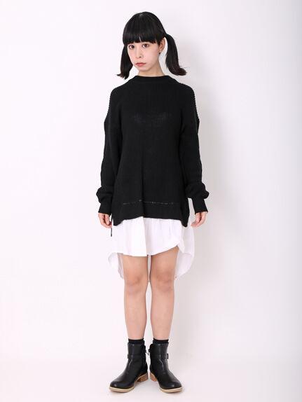 シャツ裾ドッキング畦編みワンピース