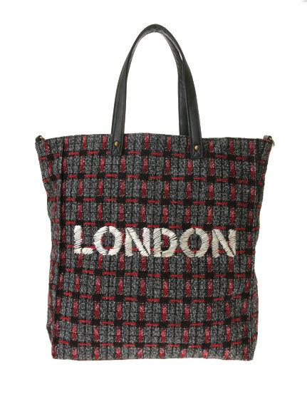LONDONロゴ刺繍2Wayトートバッグ