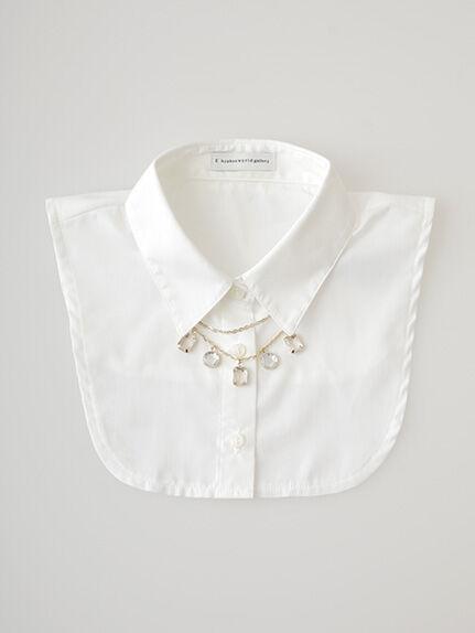 ビジューネックレス付きシャツ衿AC
