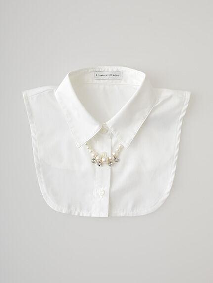 ボリュームパールネックレス付きシャツ衿AC
