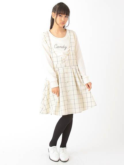 【Junior】フロントボタンウィンドウペンジャンパースカート