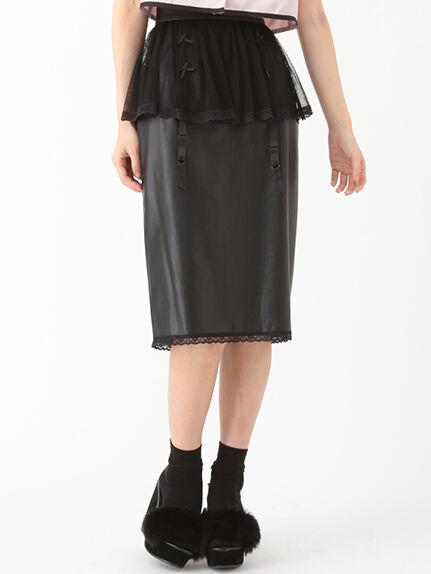 ガーターレザータイトスカート