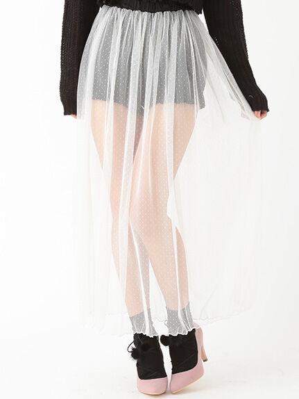 ドットチュールシアーロングスカート