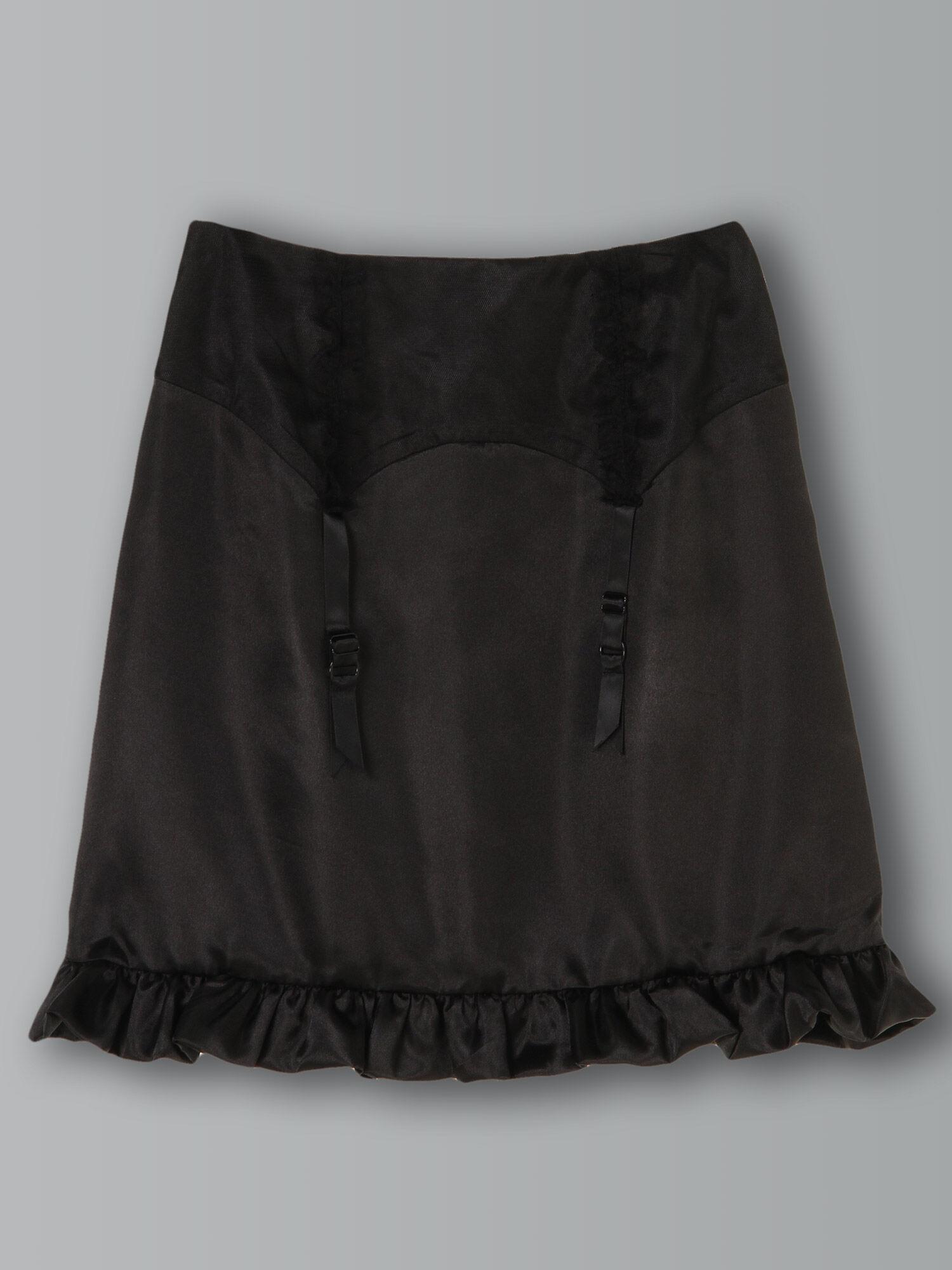 ガーターぺプラムサテンスカート
