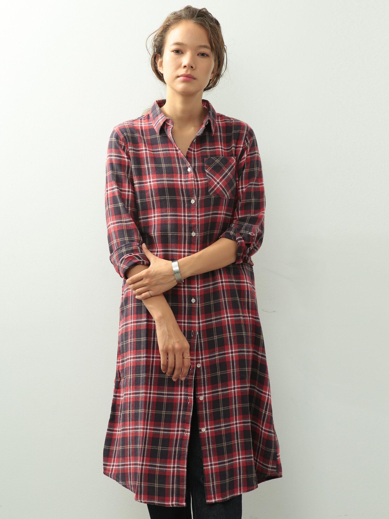 △・ビンテージネルチェック長袖ワンピース