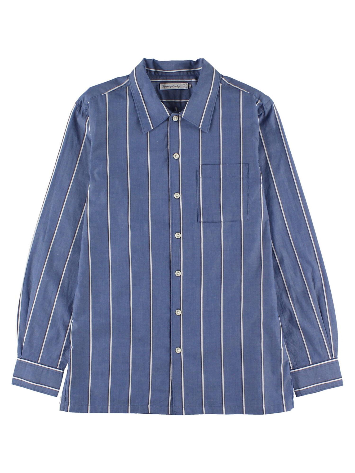 Men'sランダムストライプ長袖フレンチフロントシャツ