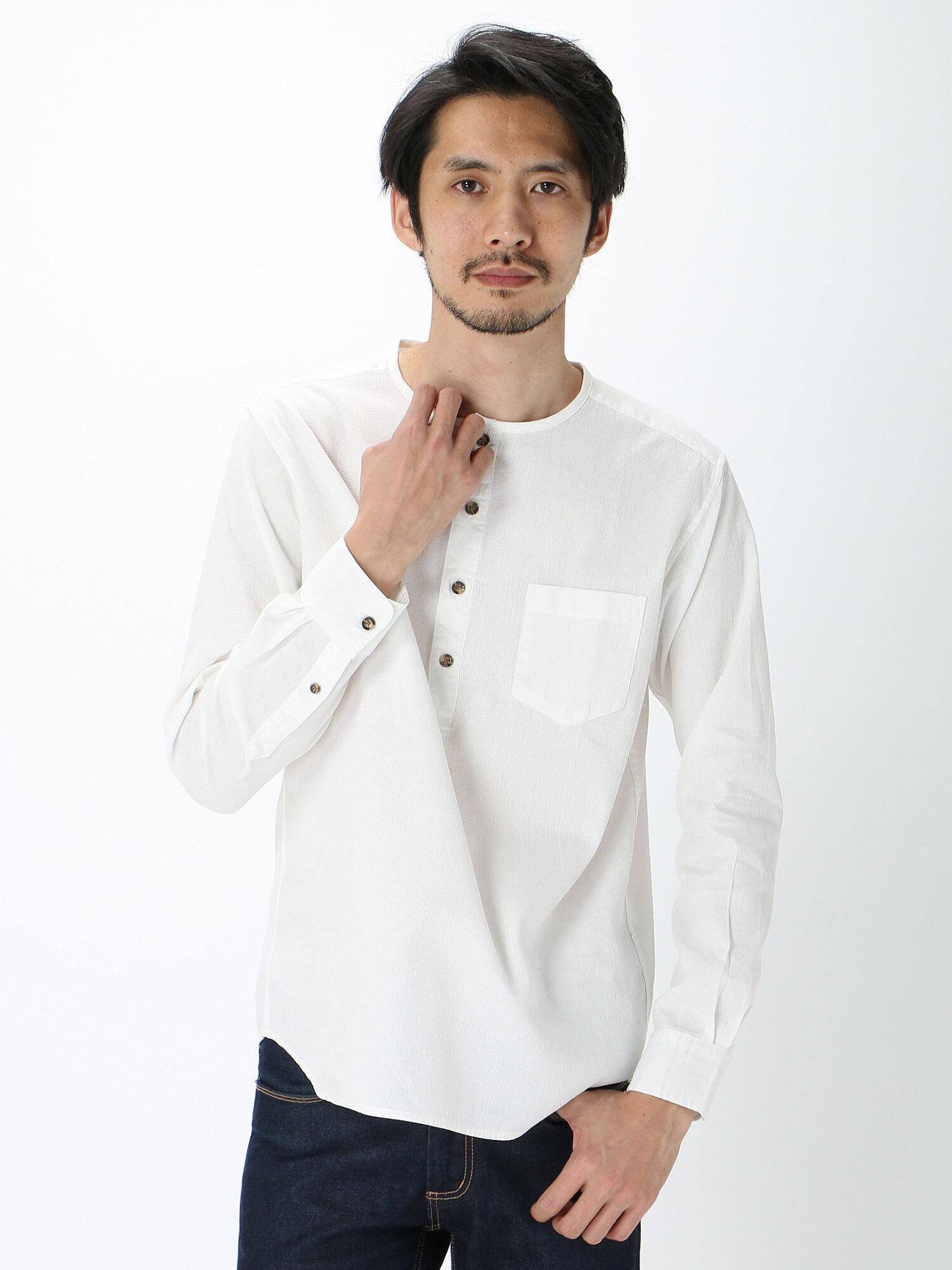 Men'sコンパクトメッシュノーカラープルオーバーシャツ