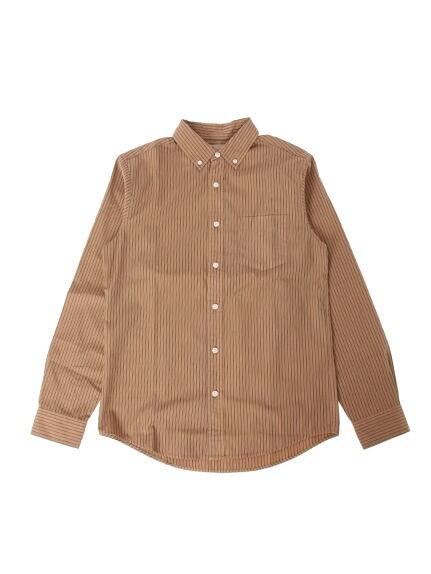 Men'sストライプ製品染長袖ボタンダウンシャツ