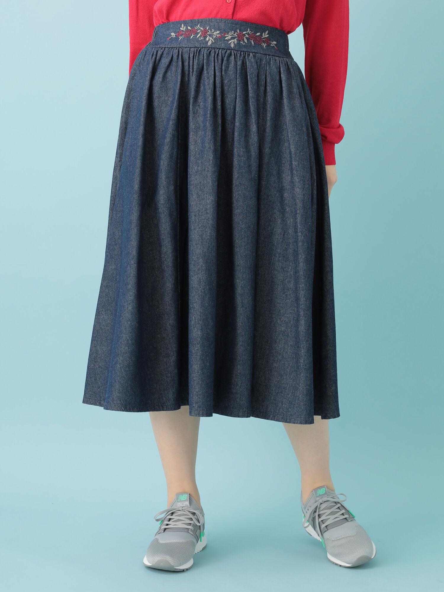 WinHeart・ウエスト花刺しゅうデニムギャザースカート