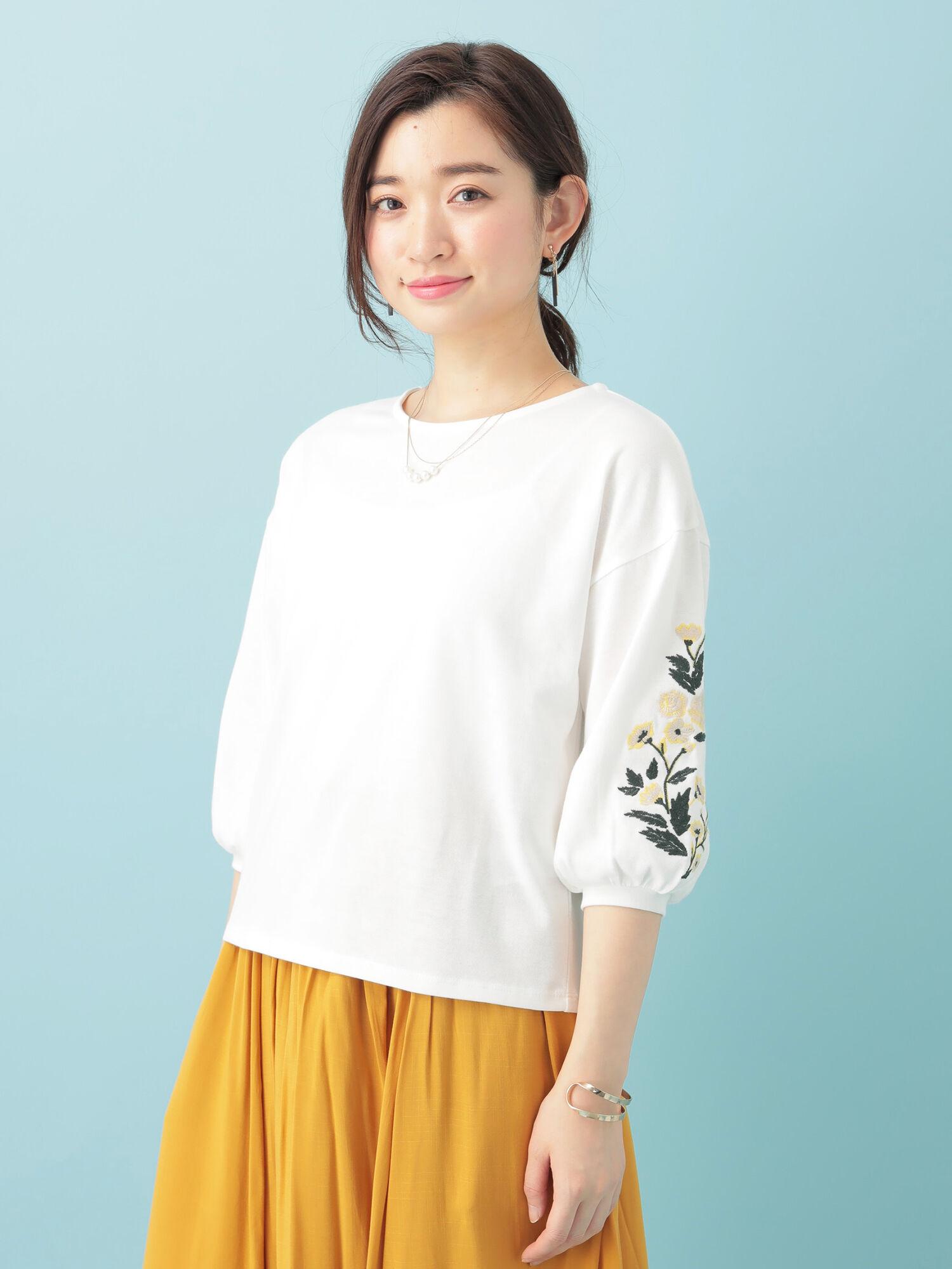 袖刺繍7分袖カットプルオーバー
