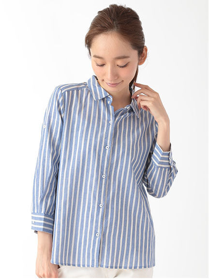 ・U袖ロールアップ太ピッチストライプシャツ