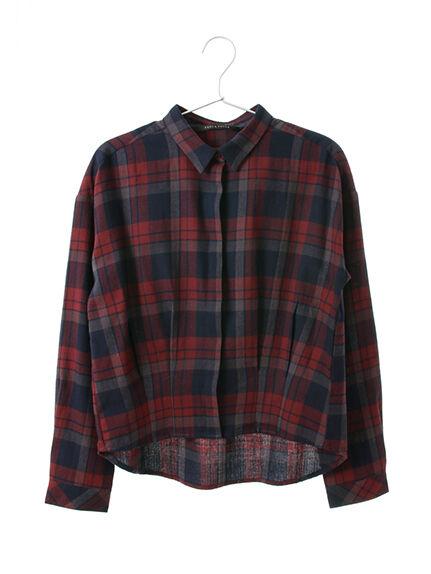 ・裾タックチェックシャツ