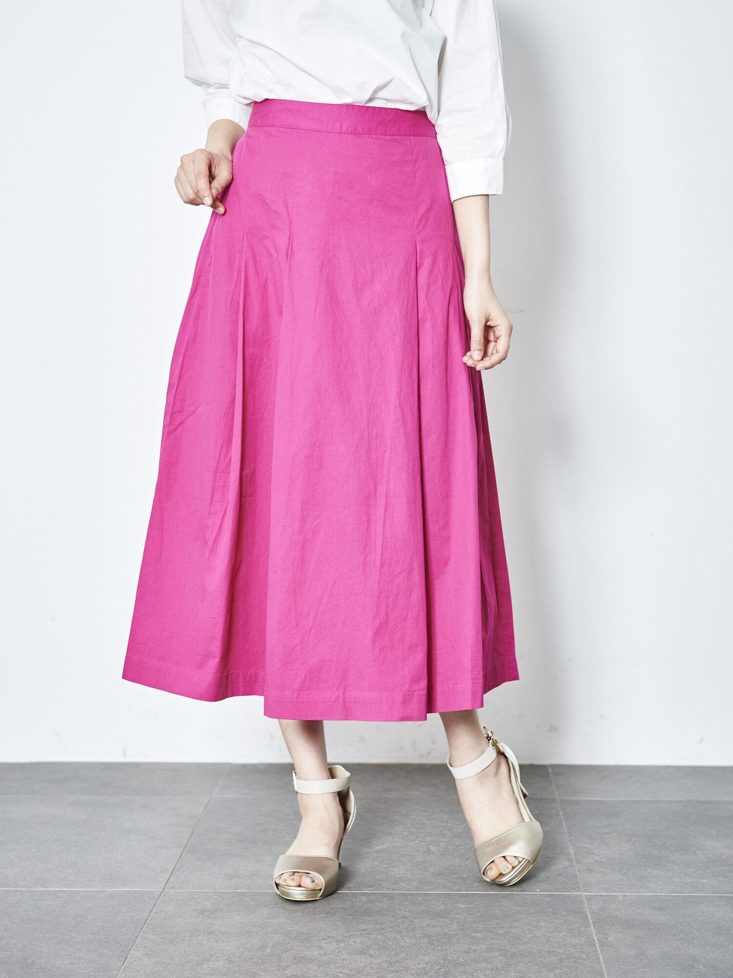 【BAILA4月号掲載】【綿100%】タックロングスカート
