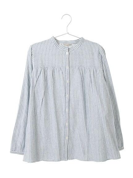 綿切り替えスタンドネックシャツ/柄アソート