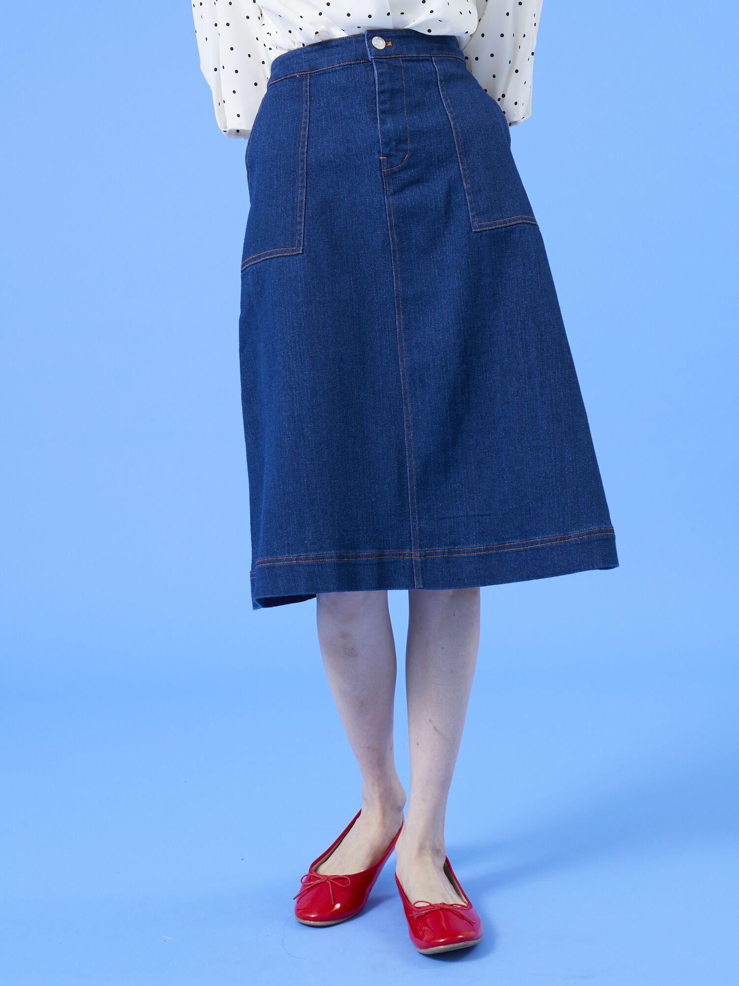 デニム・ツイルアソート台形ミディスカート