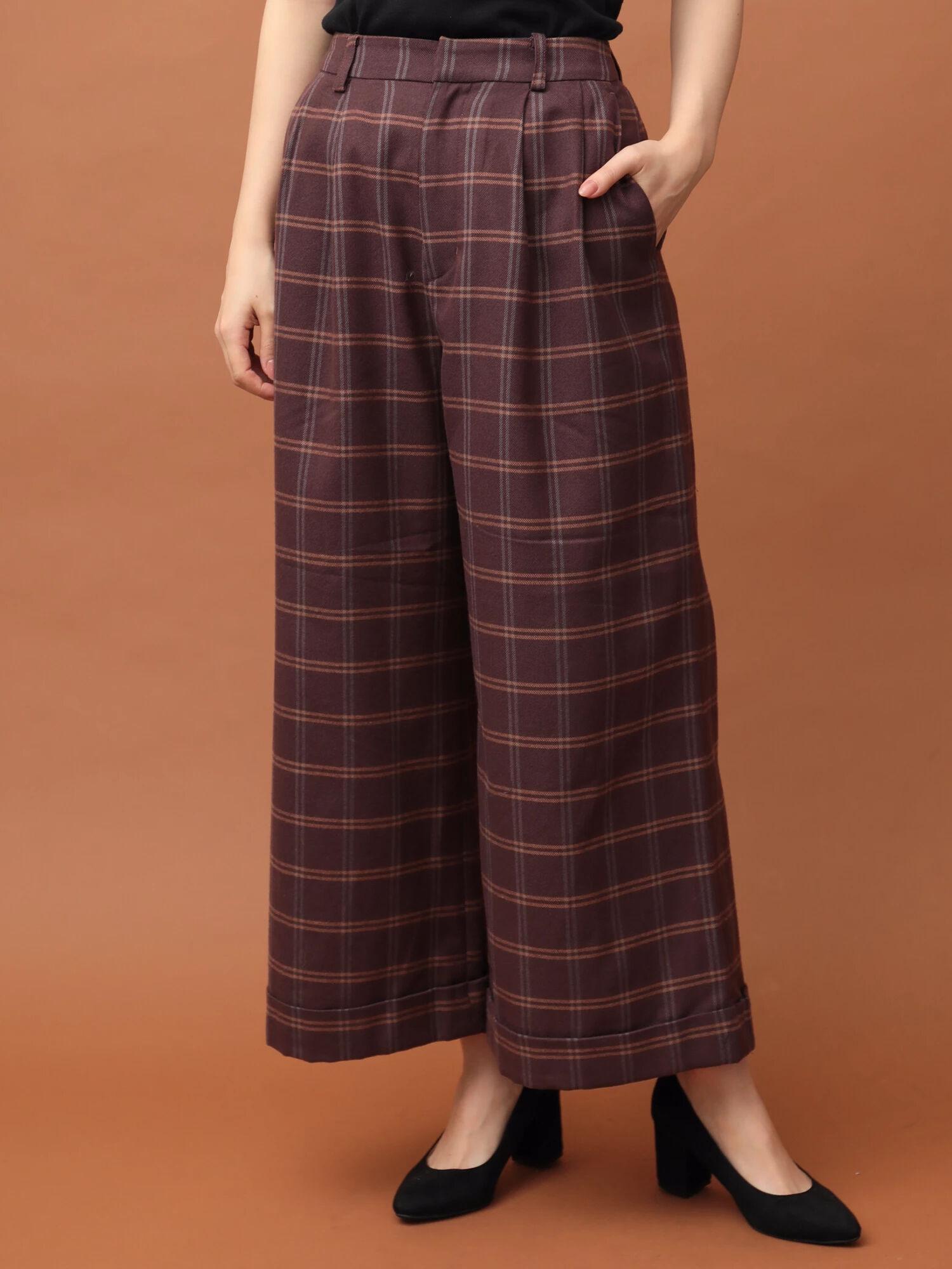 (TR)起毛チェック裾ダブルワイドパンツ