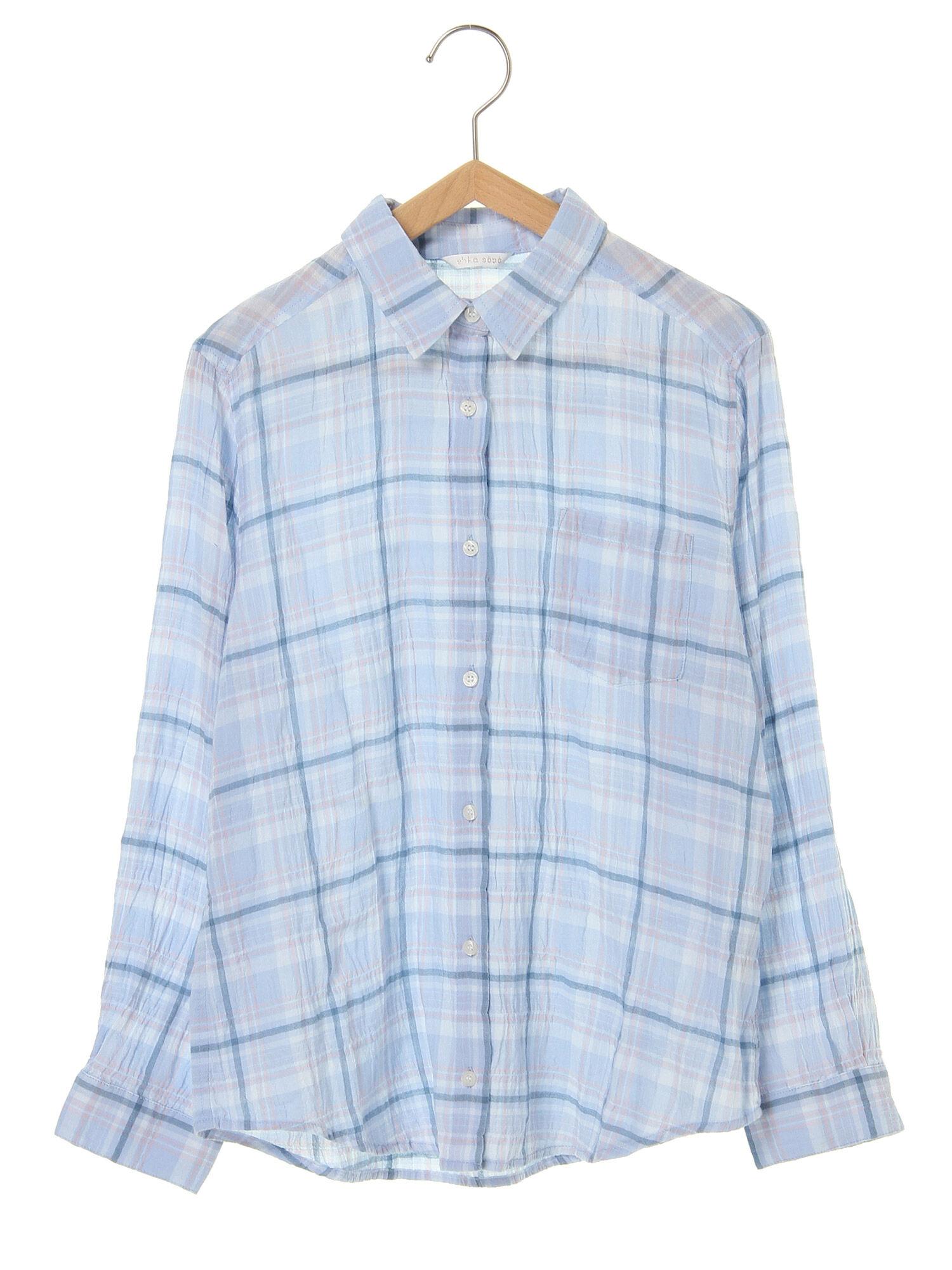 シャーリングチェックシャツ
