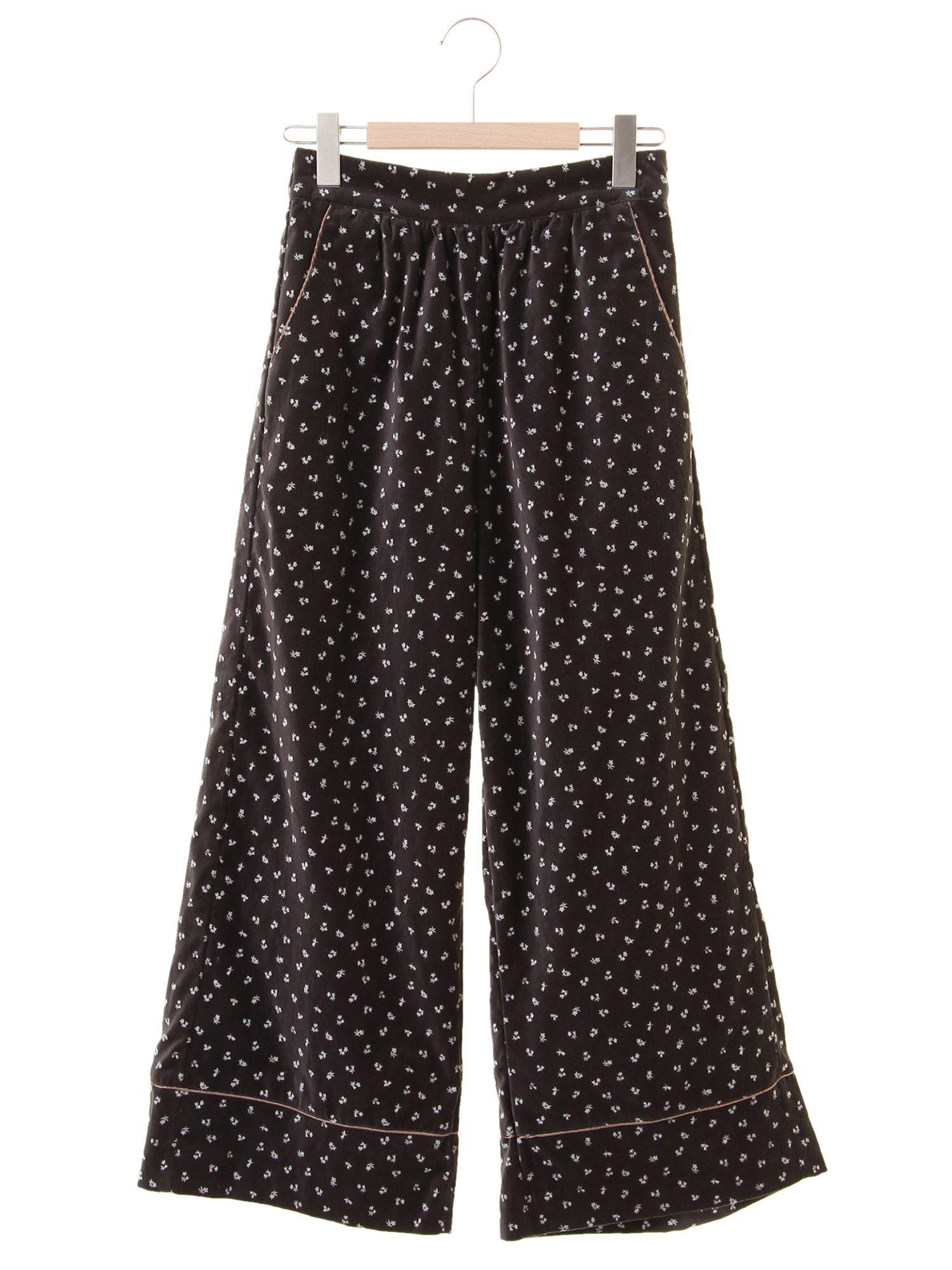 ベロア花柄パジャマパンツ