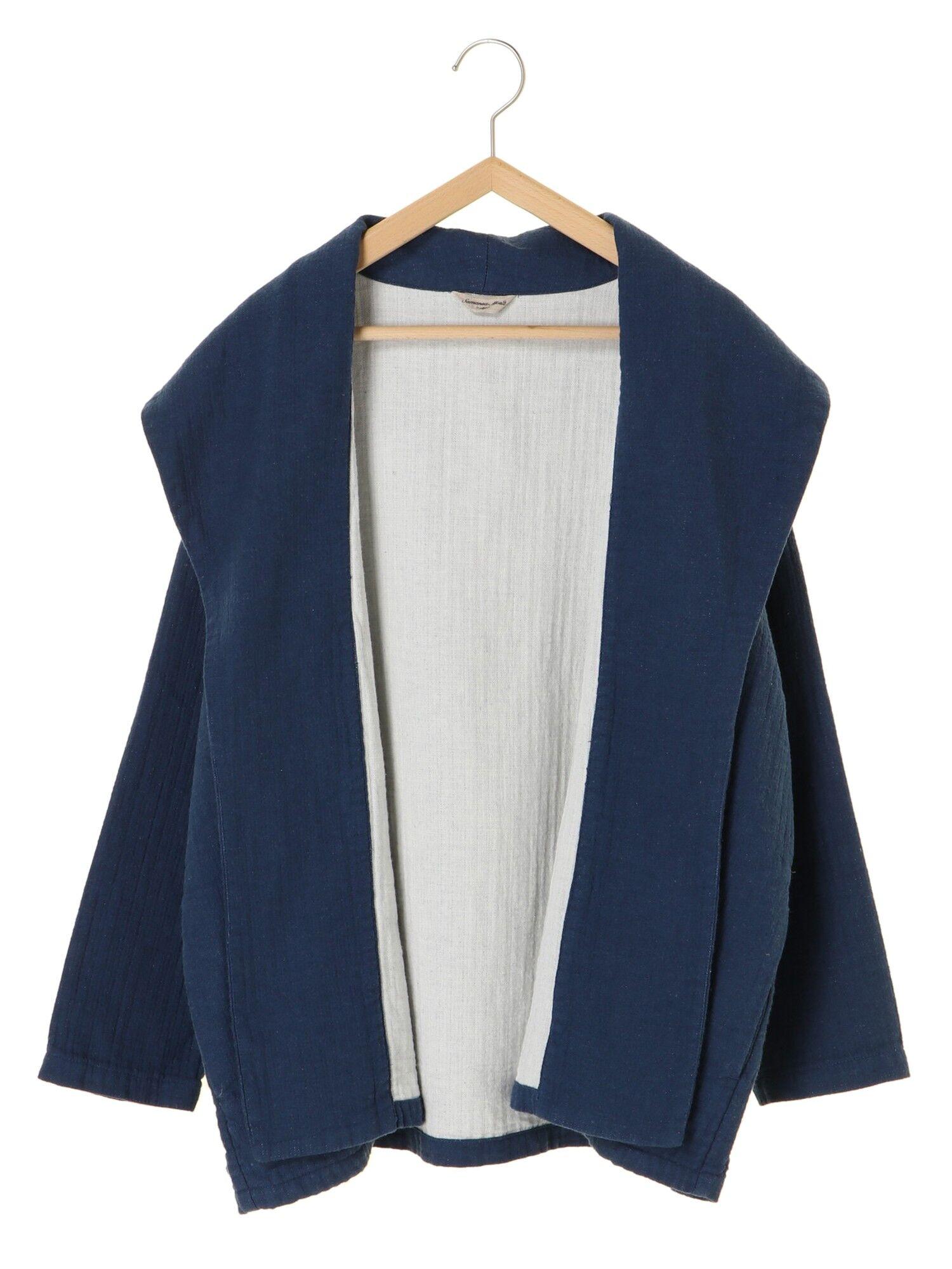 綿麻配色ショールジャケット