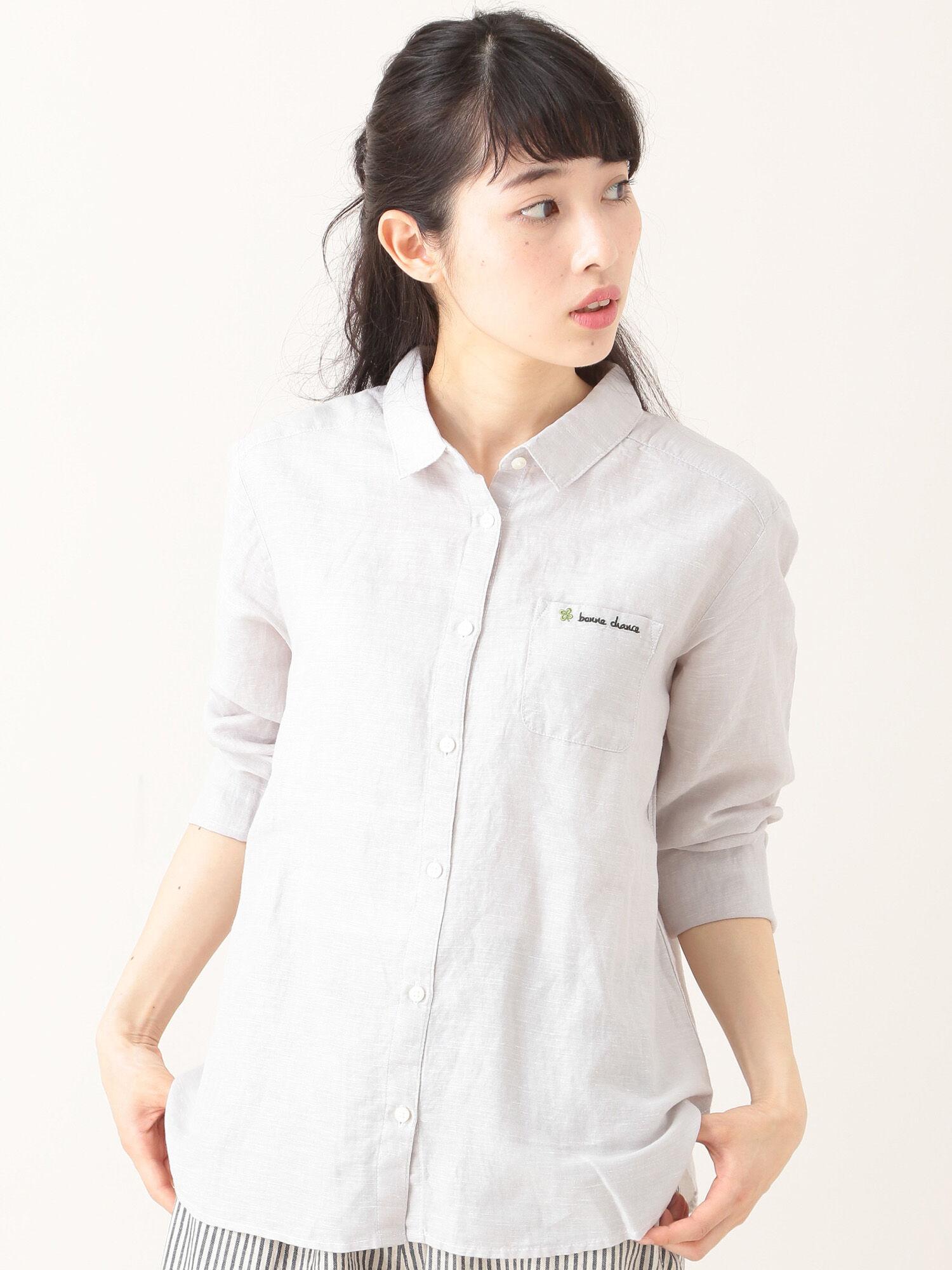 フレンチリネン混レギュラーシャツ/柄アソート