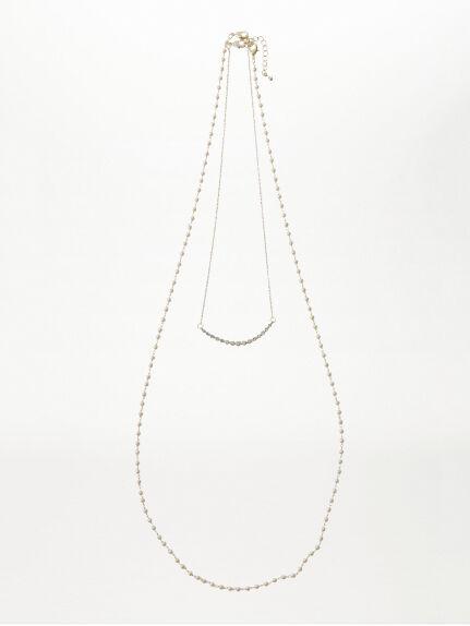 バー×パール2連ネックレス