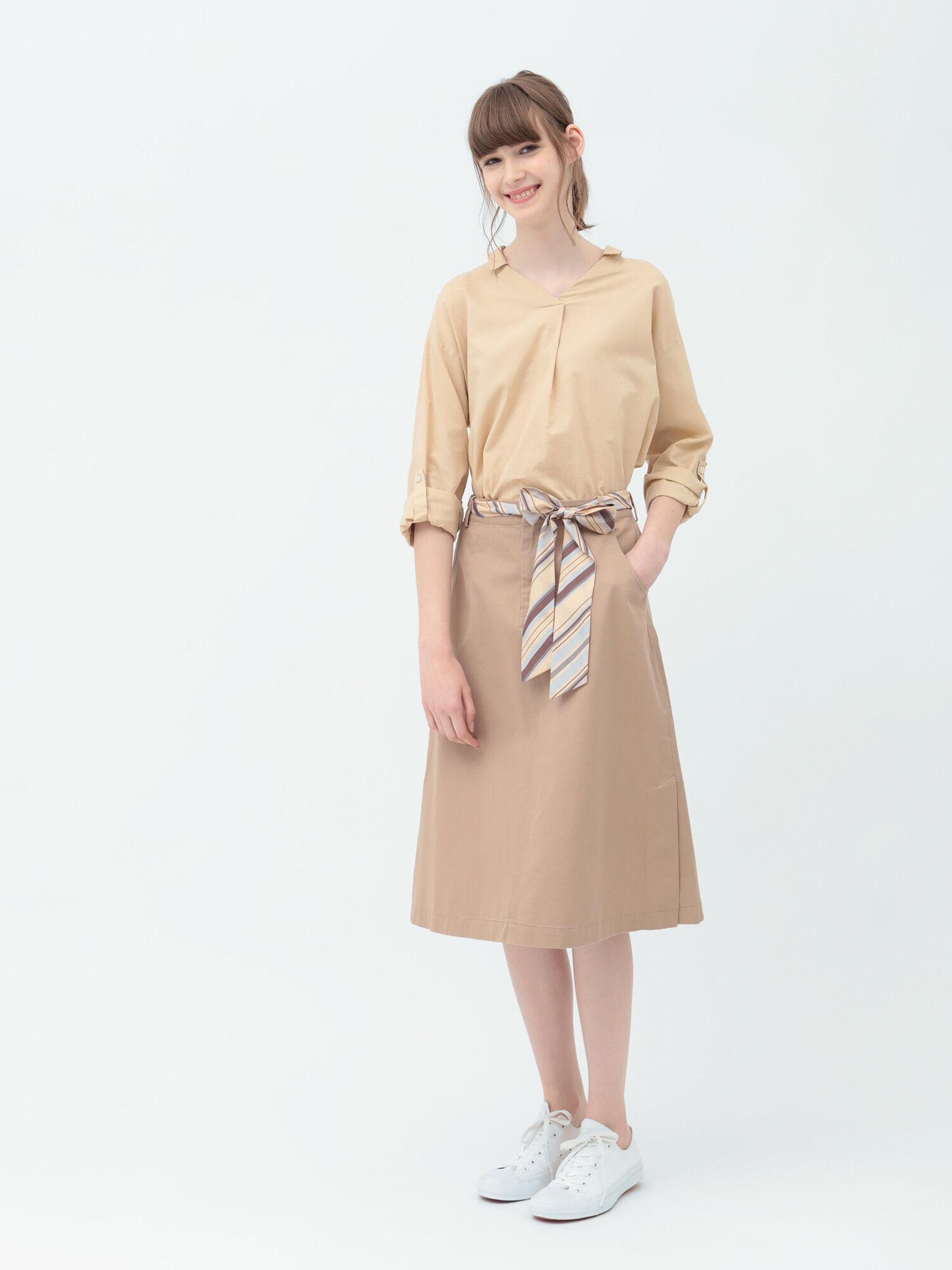 綿ツイルスカーフ付スカート